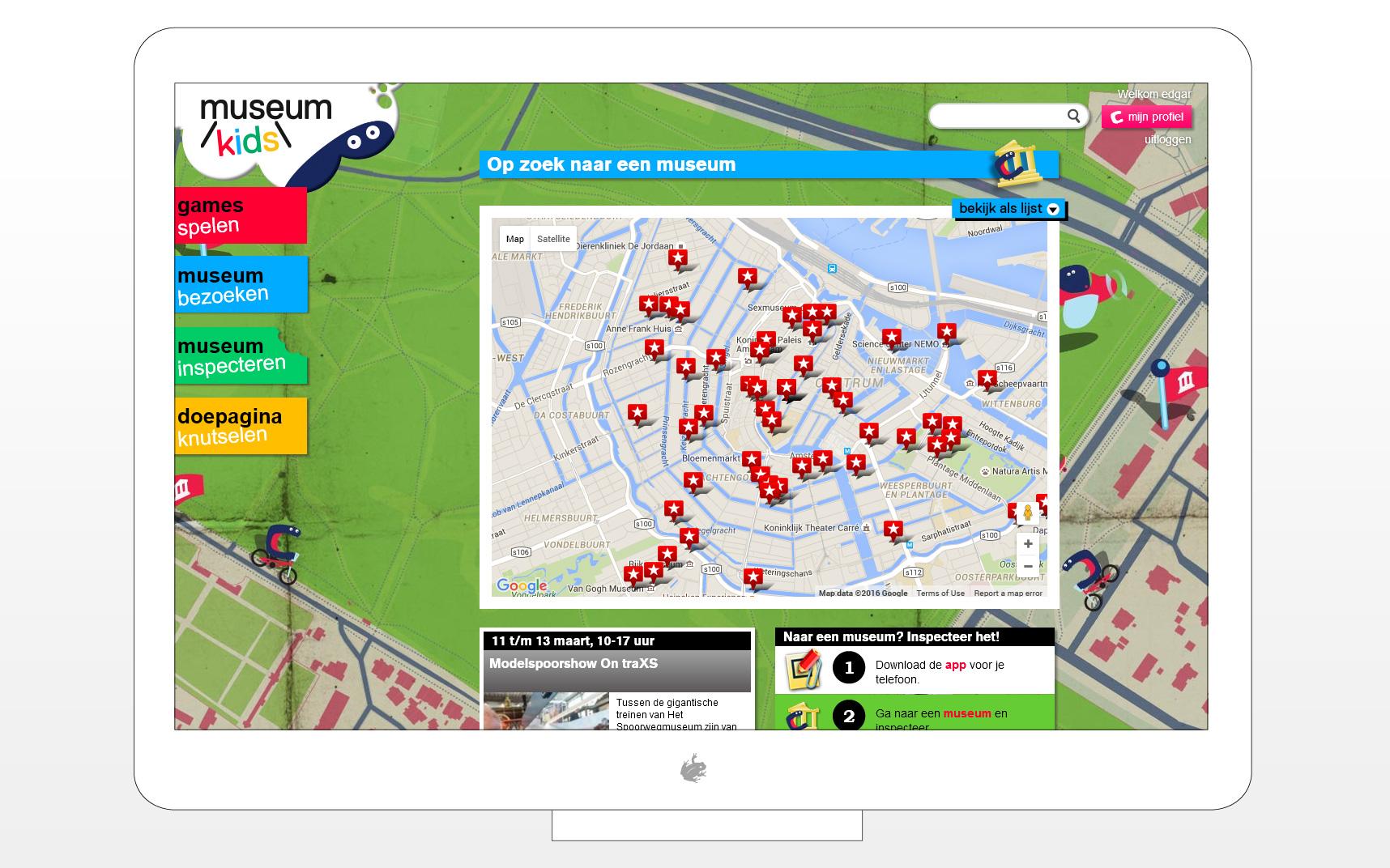 Op een kaart kan je de leuktste kidsproof musea terugvinden.
